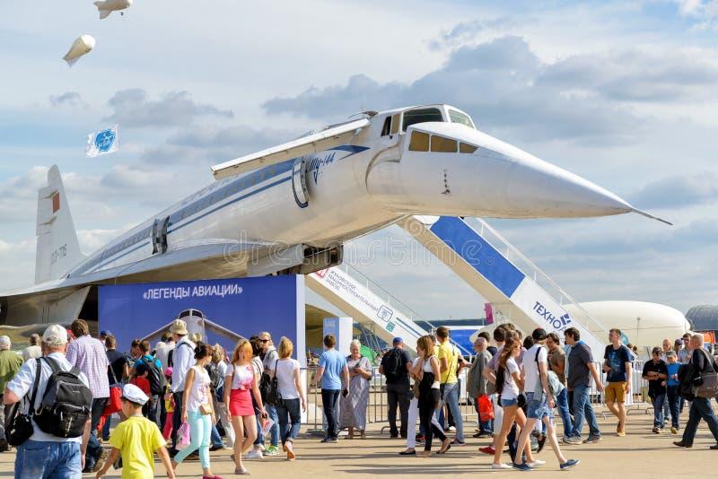 El avión de pasajeros supersónico soviético del Tupolev Tu-144 imagen de archivo libre de regalías