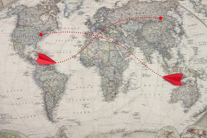 El avión de reacción del mapa viejo y del color rojo juega el modelo imágenes de archivo libres de regalías