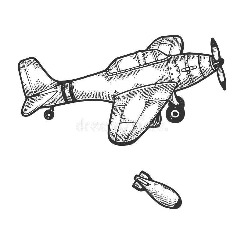 El avi?n del bombardero cae vector del grabado del bosquejo de la bomba libre illustration
