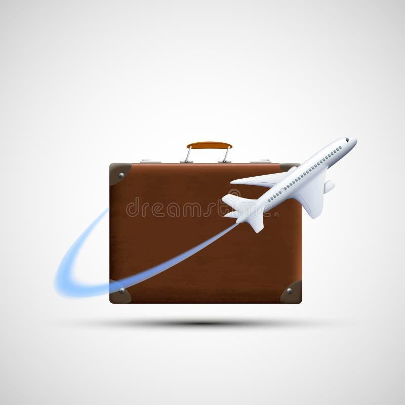 El avión vuela alrededor de la maleta Entrega del cargo Viaje del icono aislante stock de ilustración