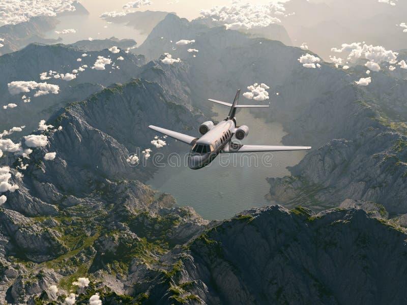 El avión vuela sobre las montañas libre illustration