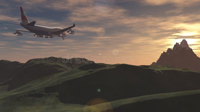 El avión vuela sobre las montañas en la puesta del sol fotos de archivo