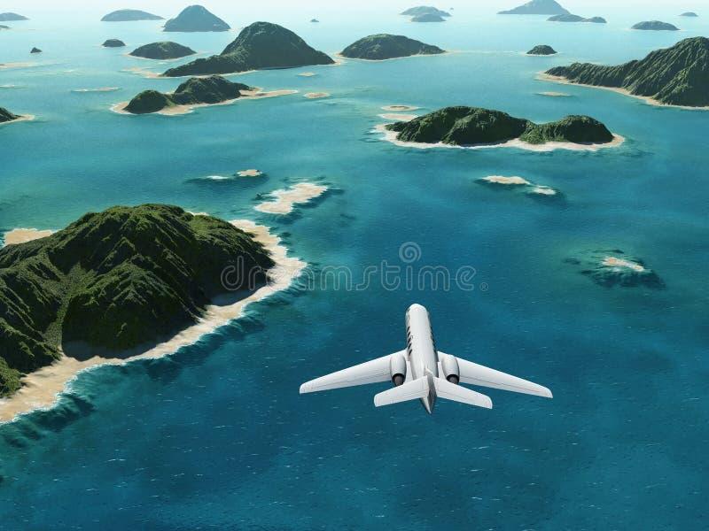 El avión vuela sobre un mar libre illustration