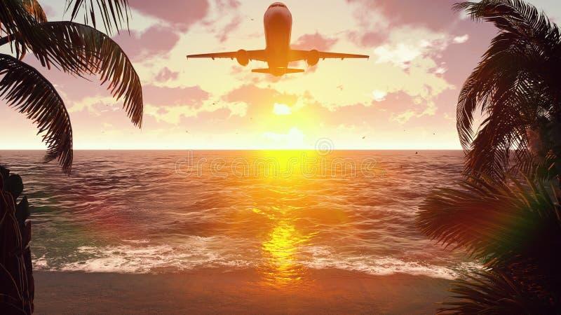 El avión vuela sobre una isla tropical en el fondo de una puesta del sol hermosa representación 3d foto de archivo