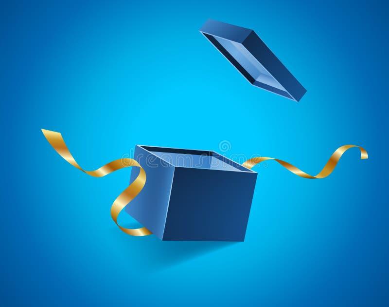El azul abrió la caja de regalo realista 3d con las cintas de oro que volaban de la cubierta y del lugar para su texto, vector re libre illustration