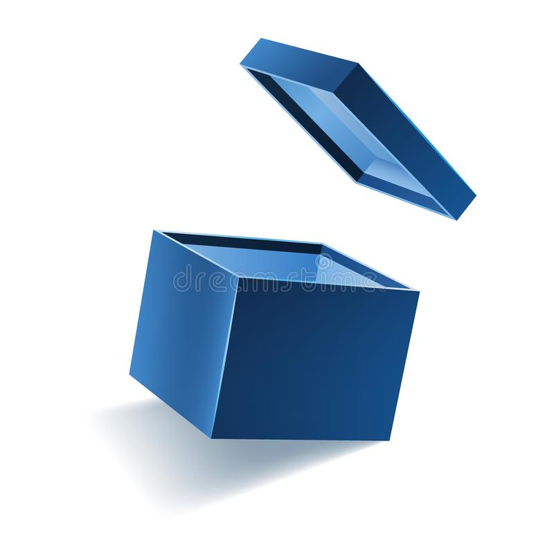 El azul abrió la caja de regalo realista 3d con el vuelo de la cubierta y del lugar para su texto, ejemplo realista del vector de ilustración del vector