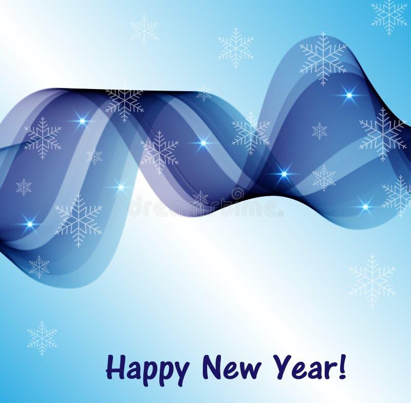El azul abstracto agita con los copos de nieve libre illustration