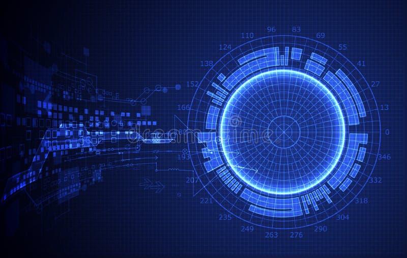 El azul abstracto coloreó el fondo con el diverso elem tecnológico libre illustration
