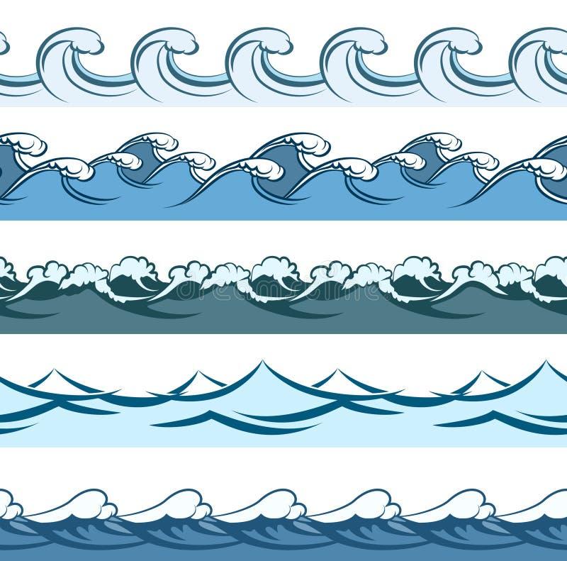 El azul agita la línea inconsútil modelos del vector ilustración del vector