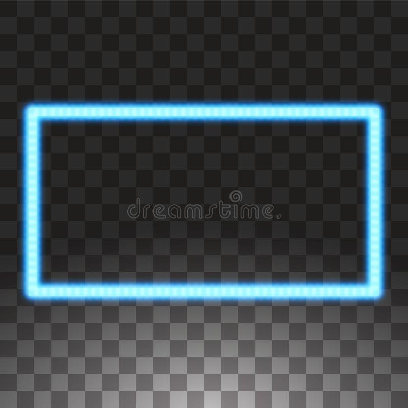 El azul brillante llev? los marcos del rect?ngulo del vector, iluminaci?n de ne?n en fondo transparente Rect?ngulo decorativo que libre illustration