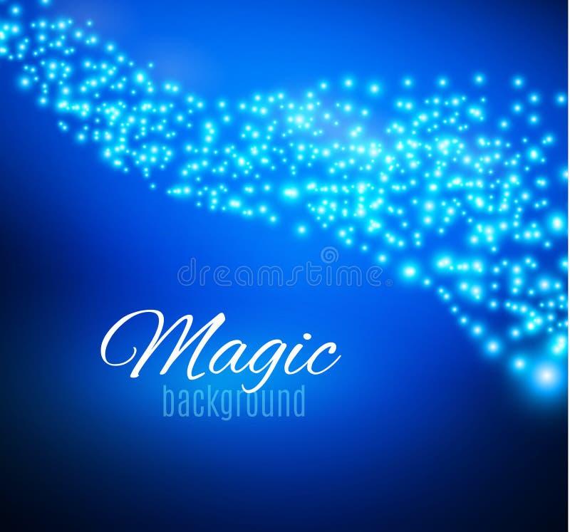 El azul chispea y el efecto luminoso especial del brillo de las estrellas Párticulas de polvo mágicas chispeantes Efecto especial ilustración del vector