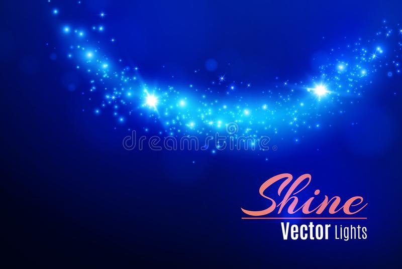 El azul chispea y el efecto luminoso especial del brillo de las estrellas Párticulas de polvo mágicas chispeantes Efecto especial libre illustration