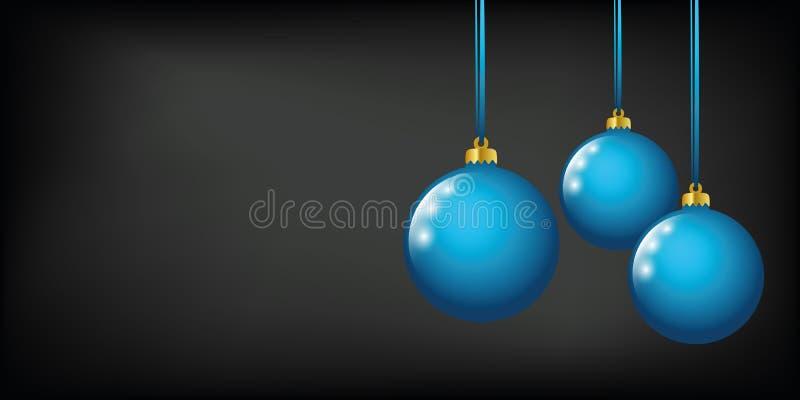 El azul coloreó bolas de la Navidad en un fondo negro libre illustration