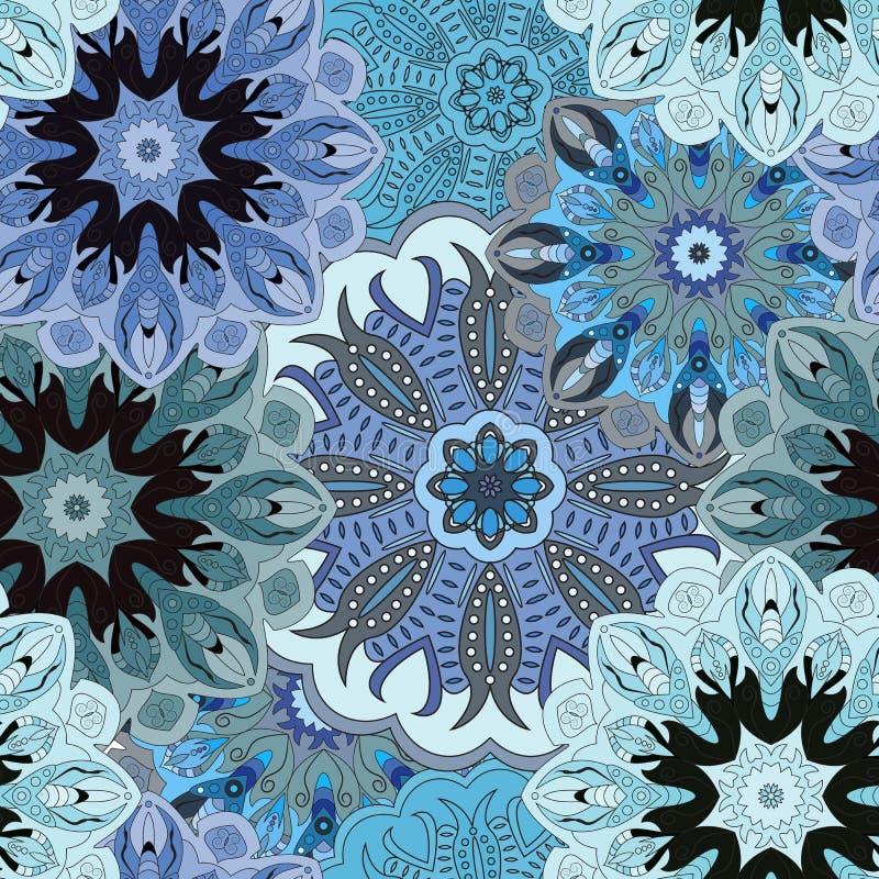El azul coloreó el modelo inconsútil con el ornamento floral del este Diseño oriental floral en el Azteca, turco, Paquistán, indi stock de ilustración