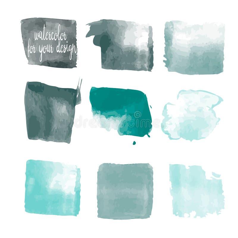 El azul colorea manchas de la pintura de la acuarela stock de ilustración