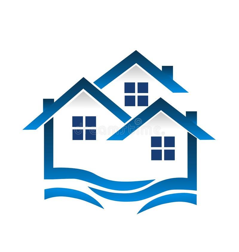 El azul contiene de las propiedades abstractas de la comunidad el vector modelo del logotipo, inmobiliarias libre illustration