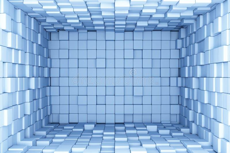 El azul cubica el fondo stock de ilustración