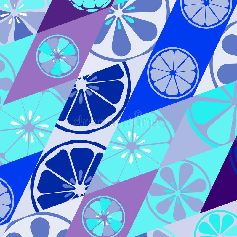 El azul de la textura con un modelo de limones abona el dulce delicioso tropical del verano con cal de la vitamina de la fruta fr stock de ilustración
