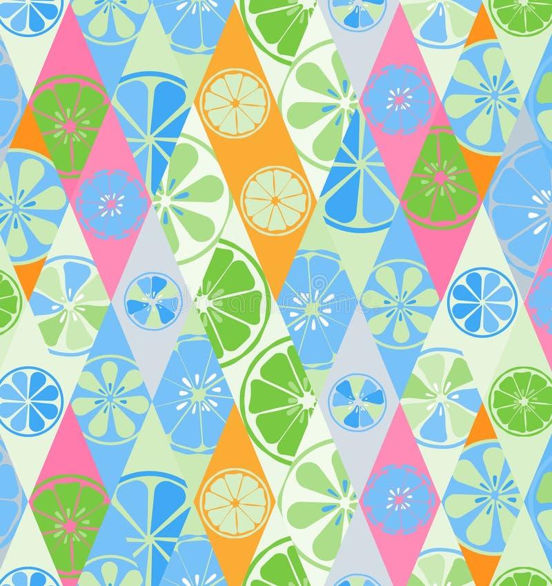 El azul de la textura con un modelo de limones abona el dulce sabroso tropical del verano con cal útil de la vitamina de la fruta ilustración del vector