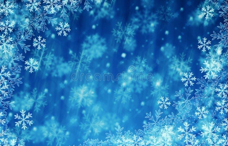 El azul del fondo de la Navidad y de la Feliz Año Nuevo hiela ilustración del vector