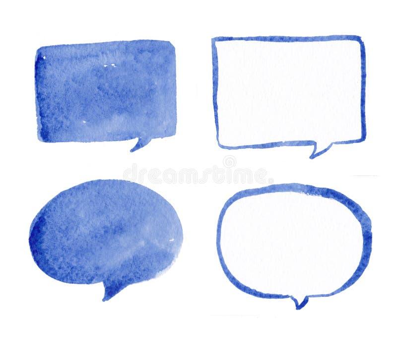 El azul dibujado mano habla el sistema de la acuarela de las burbujas ilustración del vector