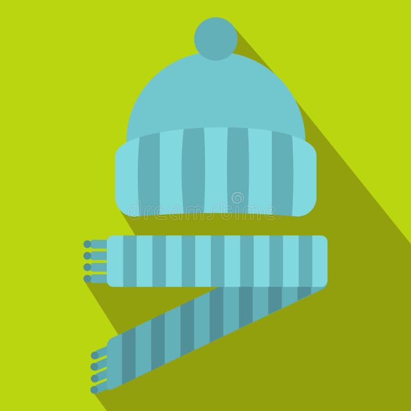 El azul hizo punto el icono del sombrero y de la bufanda, estilo plano libre illustration