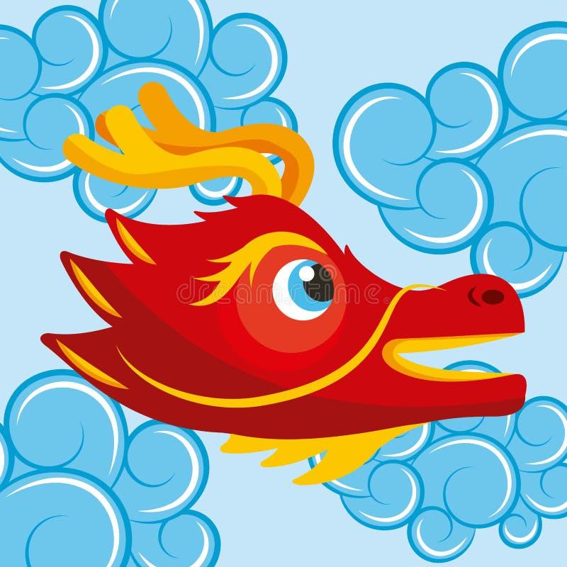 El azul lindo de la cabeza china roja del dragón se nubla estilo de la historieta stock de ilustración