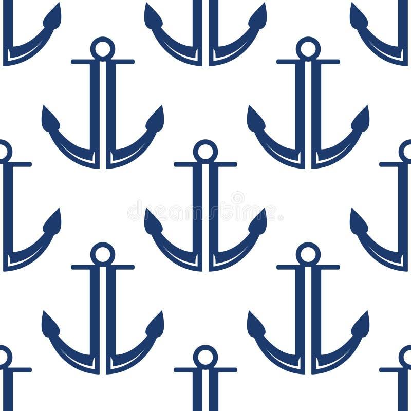 El azul marino retro ancla el modelo inconsútil ilustración del vector