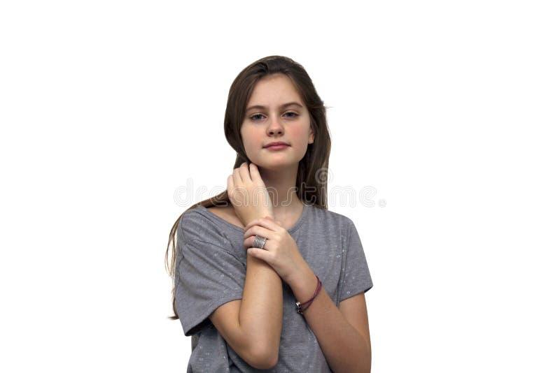 el azul observó a la muchacha tímida cabelluda marrón con el pelo que fluía Tiro modelo aislado del estudio fotos de archivo libres de regalías