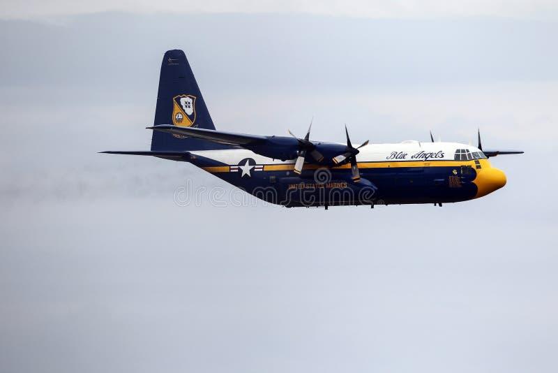 El azul pesca el aeroplano con caña imagenes de archivo
