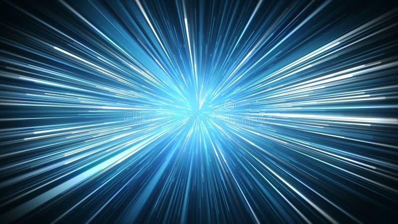 El azul radial de la falta de definición irradia el fondo abstracto stock de ilustración