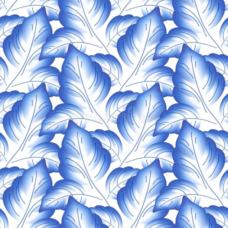 El azul sale de la porcelana rusa floral hermosa stock de ilustración