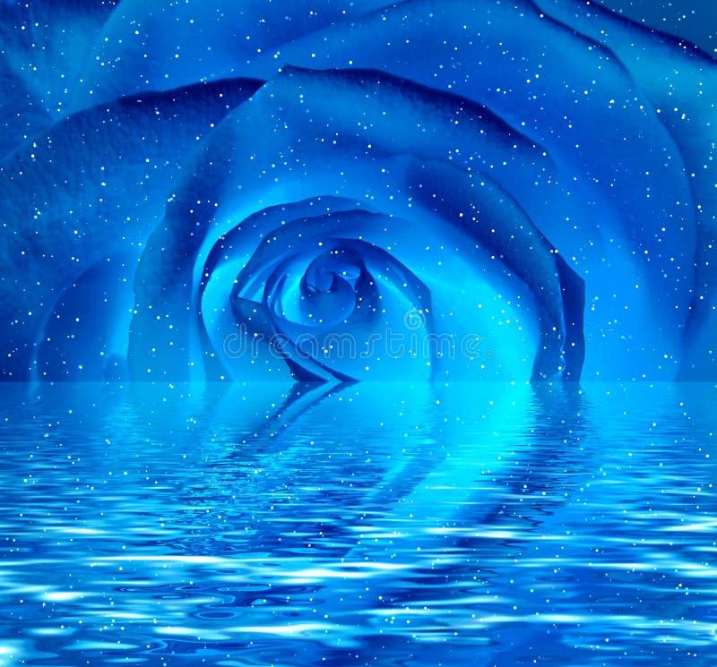El azul se levantó en agua ilustración del vector