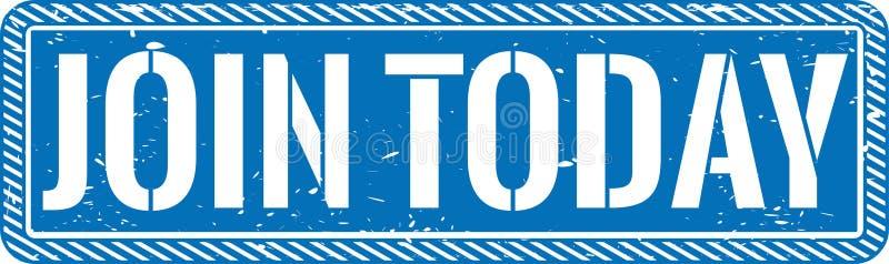 El azul se une a hoy la insignia sucia del icono del sello de goma del web stock de ilustración