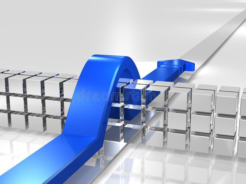 El azul supera los obstáculos. stock de ilustración