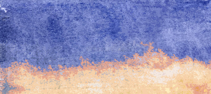 El azul y el amarillo texturizaron el fondo - ejemplo de la playa y del mar ilustración del vector