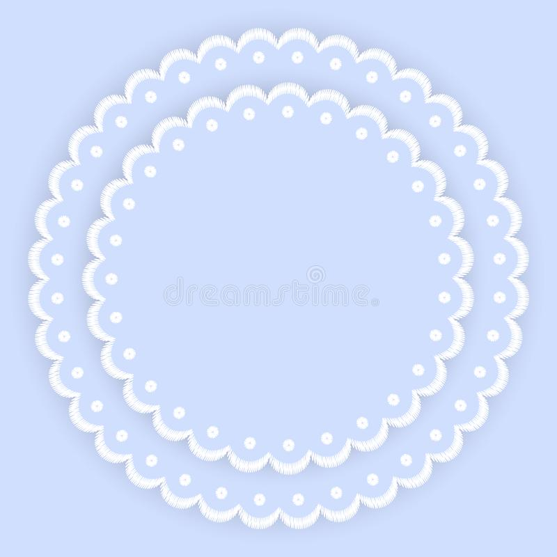 El azul y el blanco hornearon los tapetitos de encaje del círculo a la crema y con pan rallado del bordado del borde, plantilla d libre illustration
