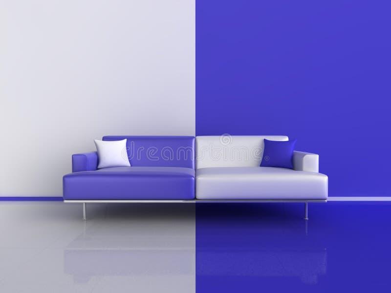 El azul y el blanco ponen en contraste el sofá stock de ilustración