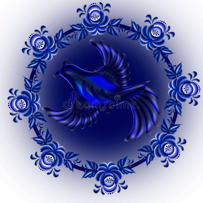 El azulejo dentro del círculo en un fondo azul libre illustration