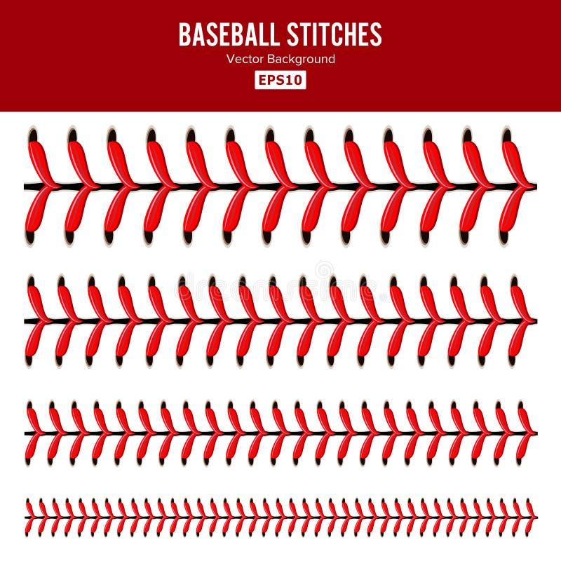 El béisbol cose vector Cordón de un béisbol aislado en blanco Cordones rojos de la bola de los deportes fijados libre illustration