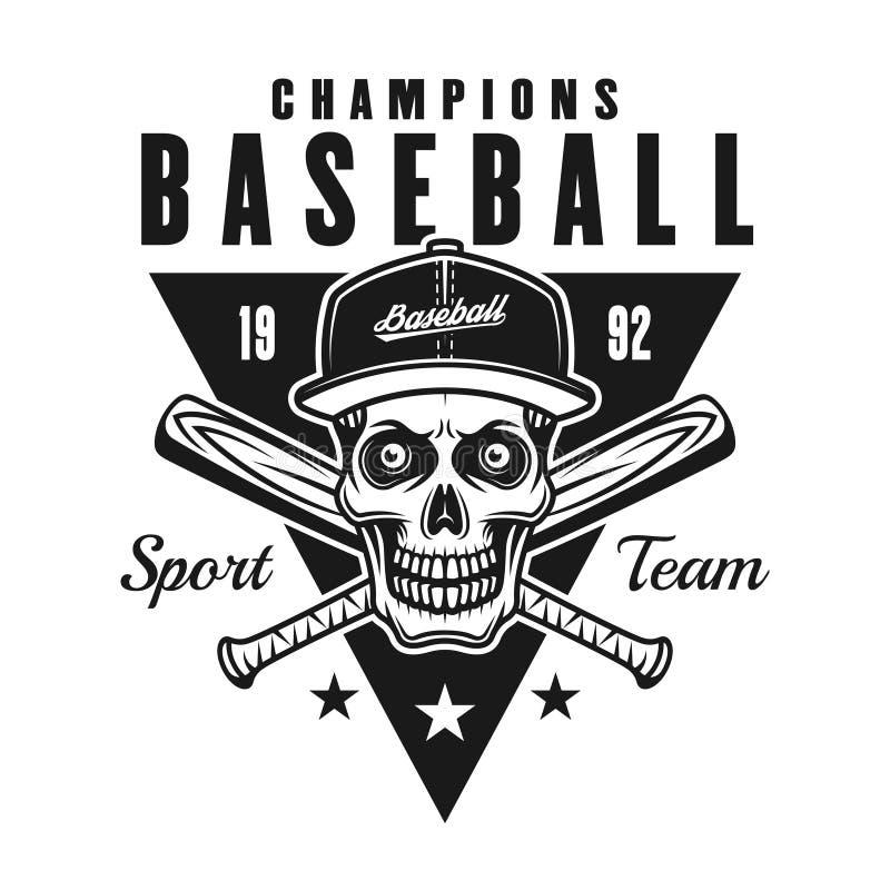 El béisbol defiende el emblema o la insignia negro del vintage stock de ilustración