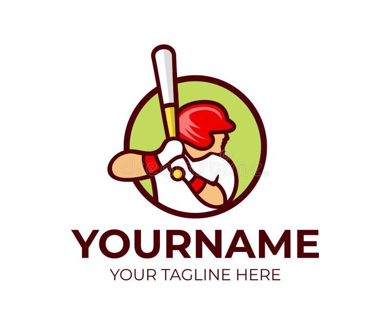 El béisbol, jugador de béisbol está sosteniendo el bate de béisbol, plantilla del logotipo Deporte y béisbol profesional, jugador libre illustration