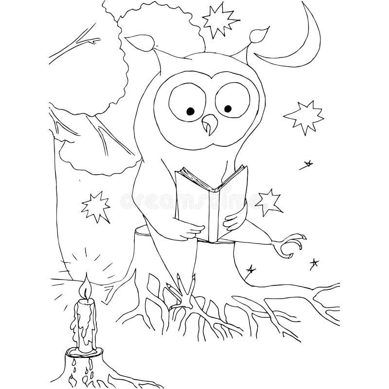 El búho de la historieta con el libro que se sienta en el tocón, taza de café, luna, protagoniza ilustración del vector