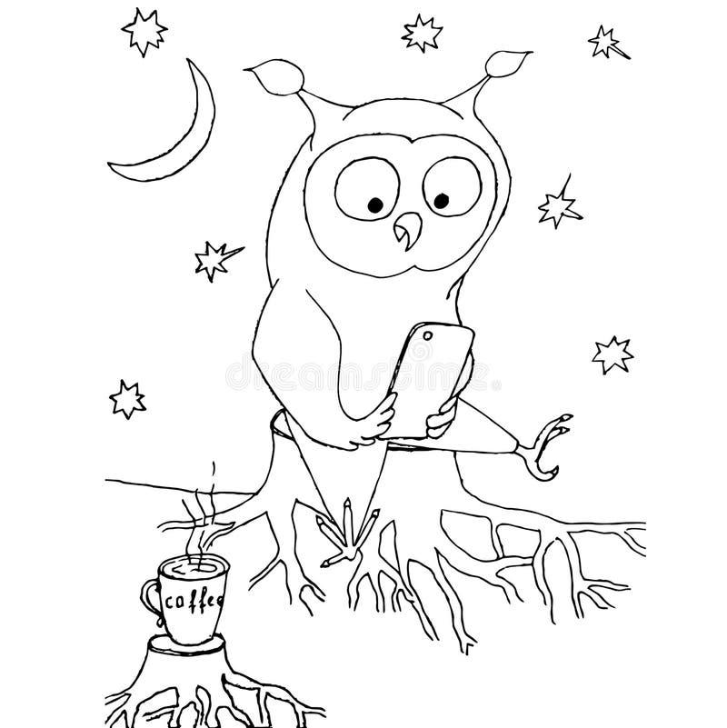 El búho de la historieta con el teléfono móvil que se sienta en el tocón, taza de cofee, luna, protagoniza stock de ilustración