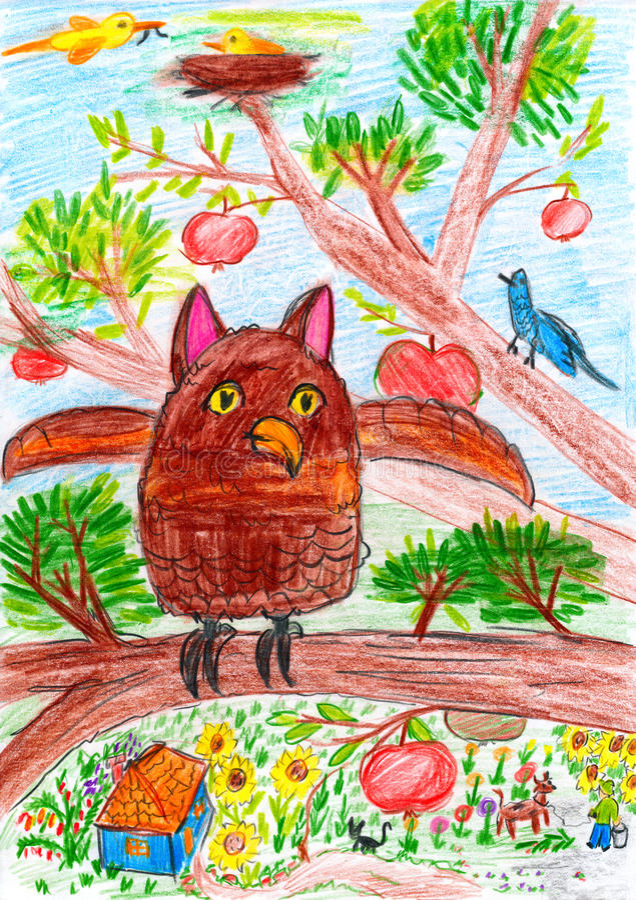 El búho y el otro pájaro que se sientan en una rama de árbol en el pueblo - imagen del dibujo del niño en el papel libre illustration