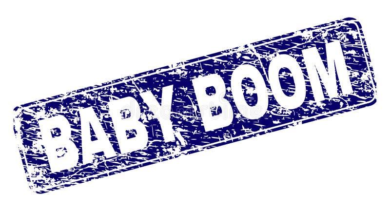 El BABY BOOM rasguñado enmarcó el sello redondeado del rectángulo stock de ilustración