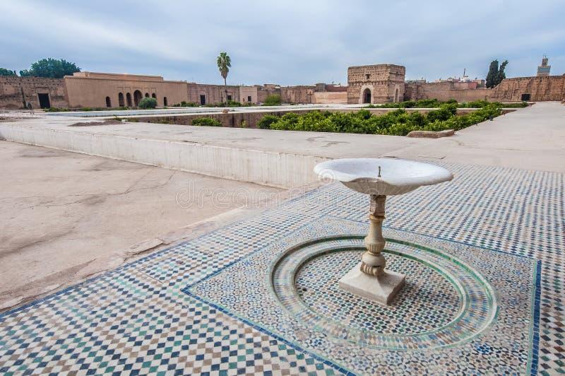 El Badi pałac jard przy Marrakech, Maroko obrazy stock