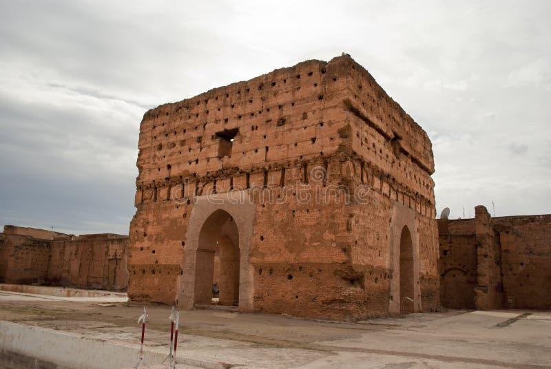 El Badi Palace i Marrakech fotografering för bildbyråer