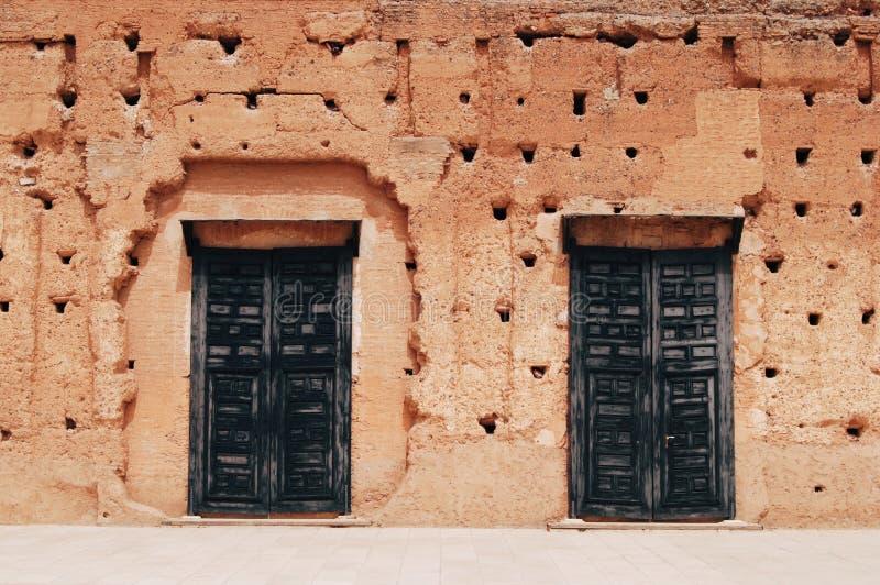 El Badi Palace i Marrakesh arkivbilder