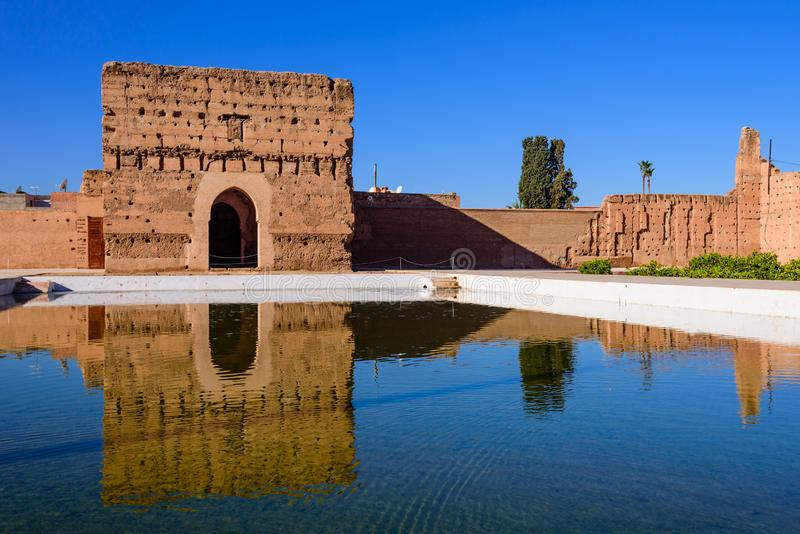 EL Badi Palace a Marrakesh fotografia stock
